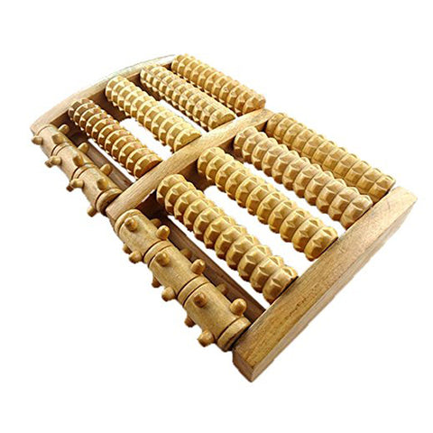 Wooden Dual Foot Massager Roller Relieve Foot Pain and Aches Tool