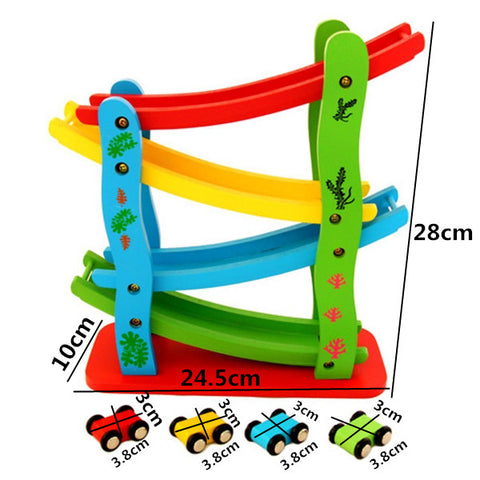 Wooden Fast Gliding Slide Car Vehicle Track Early Educational Toy Game Gift for Children Kids
