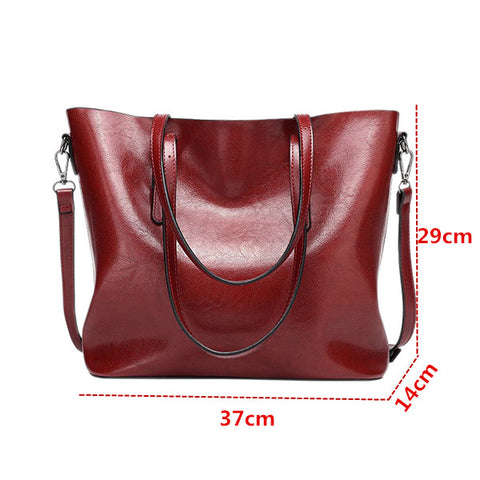 Women's Handbag PU Leather Tote Shoulder Bags Soft Hot Shoulder Bag(Wine Red)