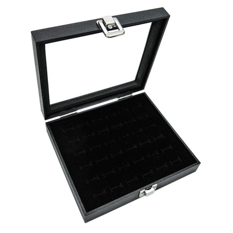 36 Slot Ring Display Box, Jewelry Display Storage Holder Tray Case(Black)