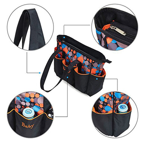 Large Waterproof Diaper Bag Set - Orange Polka Dot