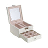 PU Leather Lockable Jewelry Box With Lid & Mirror