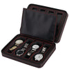 Portable 8 Slot Carbon Fiber PU Leather Watch Box