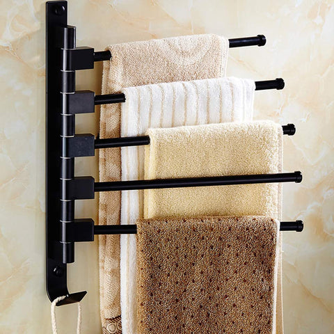5-Arm Wall Mount Swivel Towel Bar Rack with Hooks