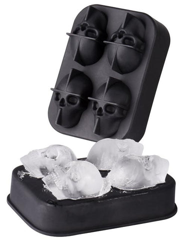 4 Cavity Skull Shape Silicone 3D Ice Cube Mold