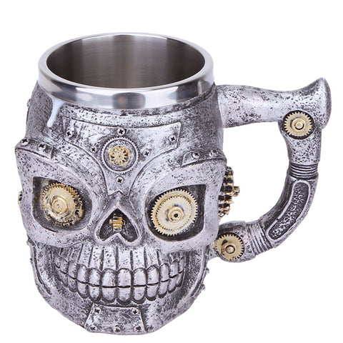 3D Gear Skull Double Wall Stainless Steel Coffee Mug