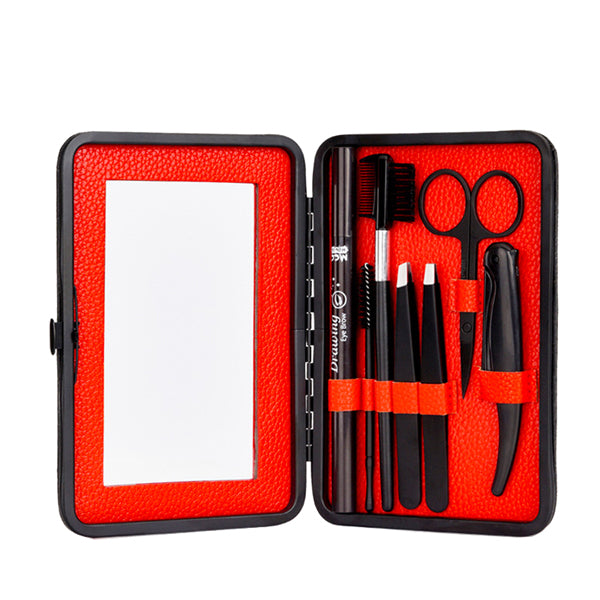 7 piece Eyebrow Trimming Grooming Kit with Case Mirror for Women Men