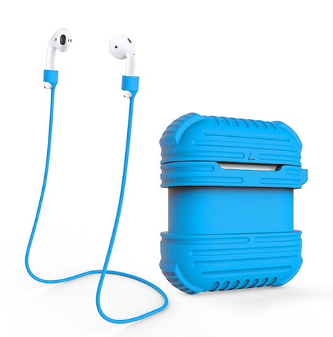 Shockproof Silicone Cover with Anti-lost Strap for Apple Airpods-Blue