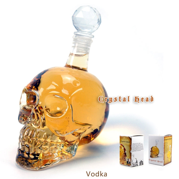 Crystal Head Skull Bone Vodka Whiskey Glass Bottle Decanter Cup Home Bar 350ML