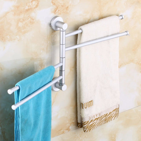 IKEA style towel holder 4 swivel bars Aluminium bath rack rail hanger
