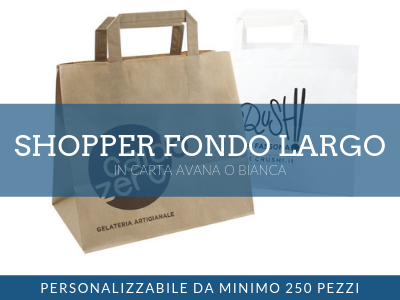 Shopper fondo largo personalizzata in carta avana o bianca