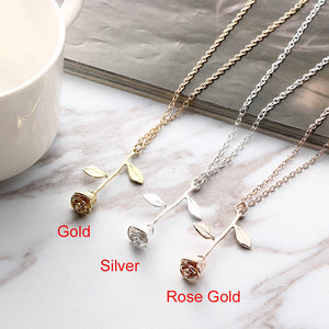 Charming Rose Pendant Necklace