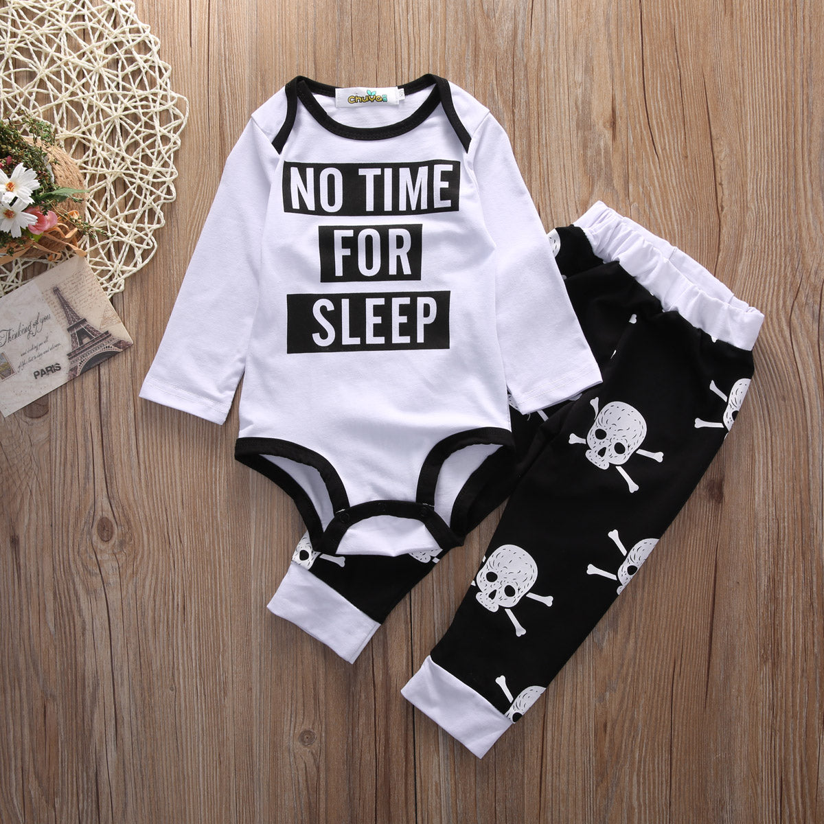 No Time For Sleep Baby Outfit