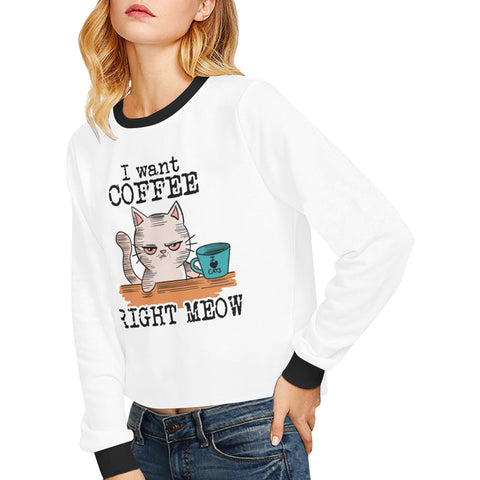 Image of I Want Coffee Right Meow Cropped Sweatshirt (Nine Yards Exclusive)