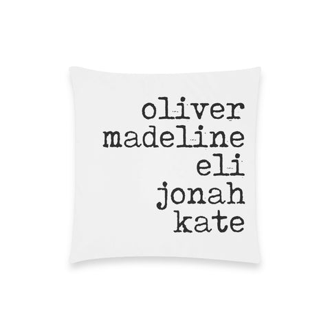 Personalized Family Throw Pillow Cover (Nine Yards Exclusive)