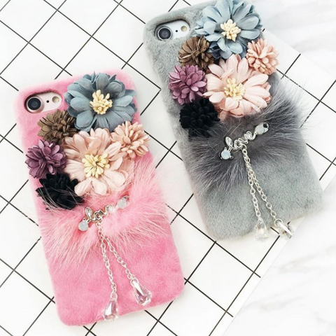 Image of Luxury Flowery Plush Phone Case