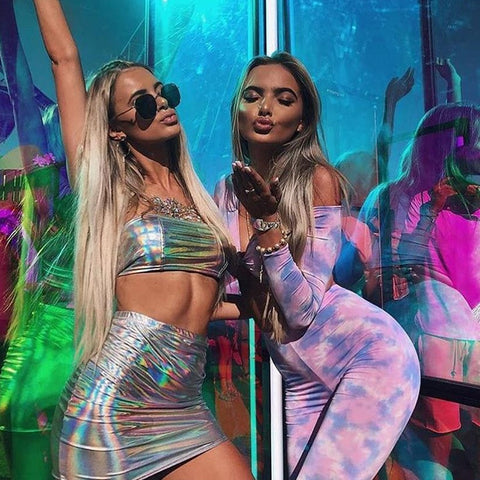 Image of Sexy Holographic 2 Pcs Bodycon