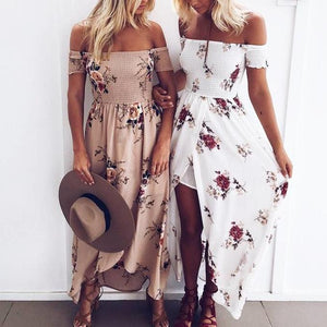 Bohemian Off-Shoulder Maxi Dress