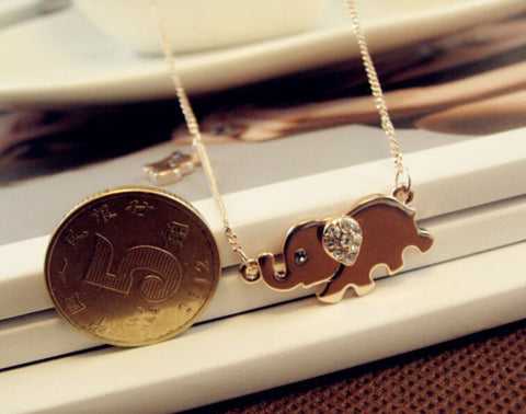 Image of Adorable Elephant Crystal Necklace