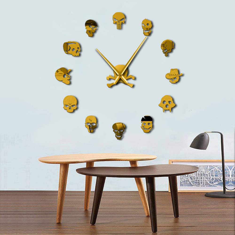 Frameless Punk Skull Wall Clock