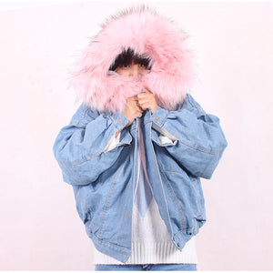 Faux Hooded Denim Jacket