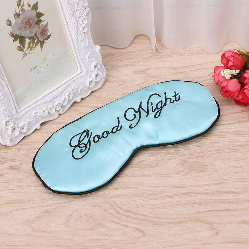 Embroided Good Night Sleeping Mask