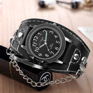 Punk Leather Skull Watch