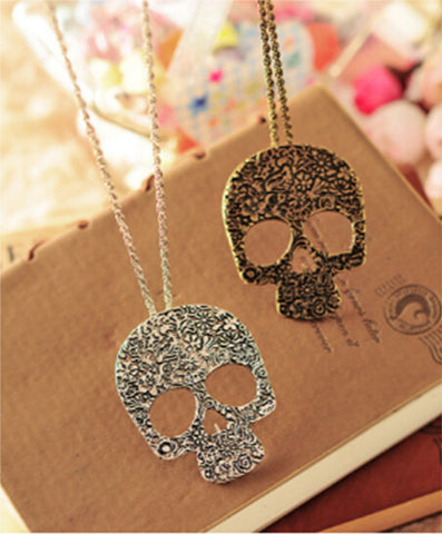 Image of Floral Skull Plate Necklace