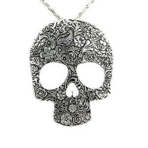 Floral Skull Plate Necklace