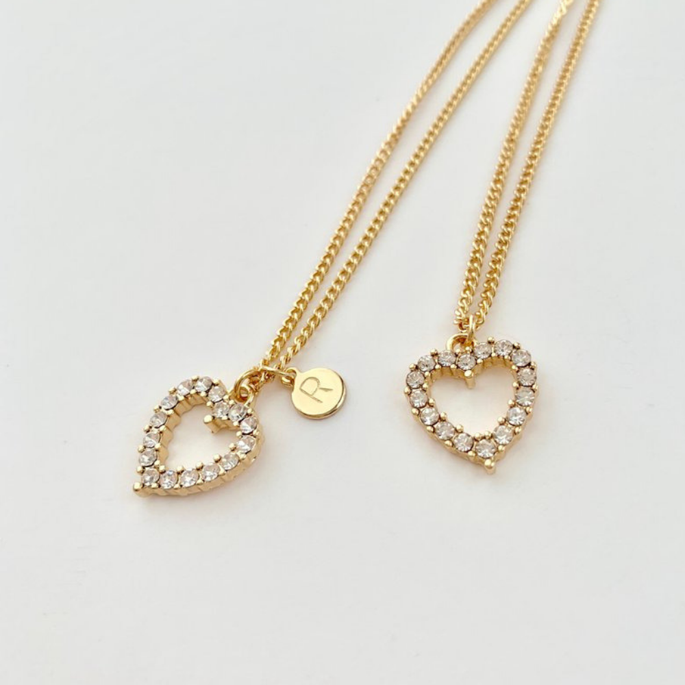 Lovely Personalized Bejeweled Heart Necklace