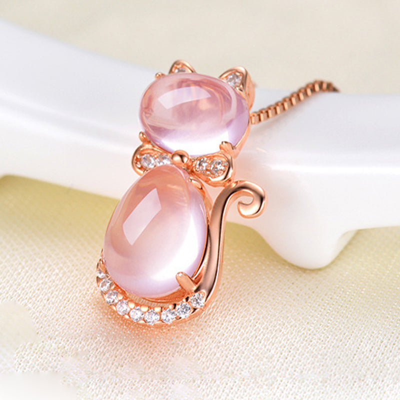 Rose Gold Cat Quartz Necklace