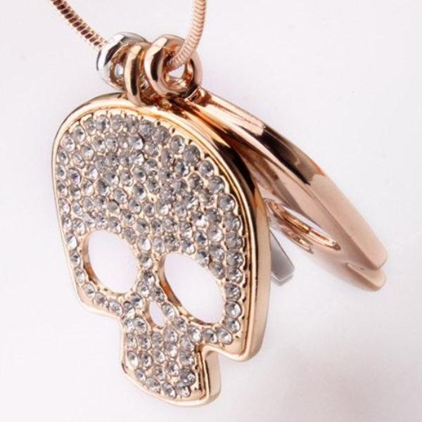 Triple Skull Rose Gold Necklace