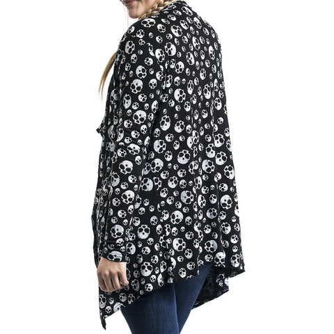 Image of Casual Knitted Skull Cardigan