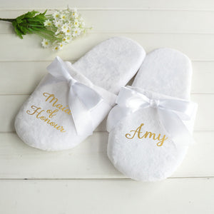 Personalised Sophisticated Bride Slippers
