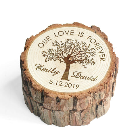 Image of Customizable Wooden Log Ring Box