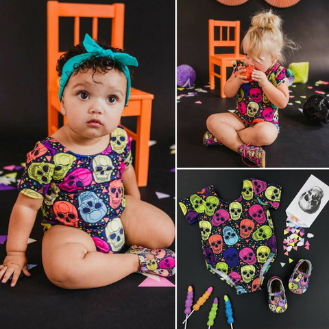Image of Rainbow Sugarskull Baby Romper