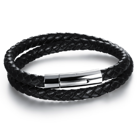 Image of Black Genuine Leather Bracelet