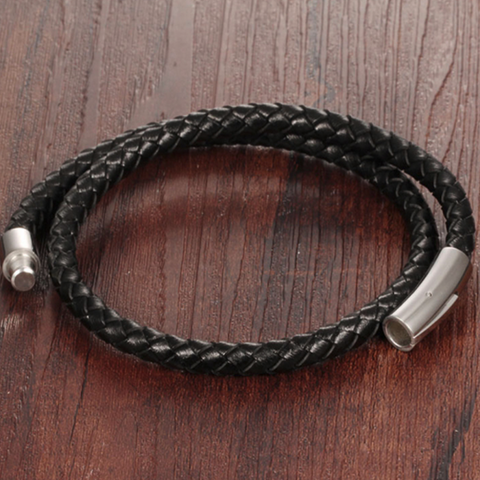 Black Genuine Leather Bracelet