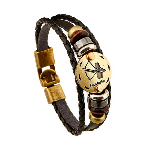 Image of Individual Zodiac Symbol Leather Bracelet