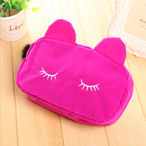 Sleepy Kitty Cosmetic Bag