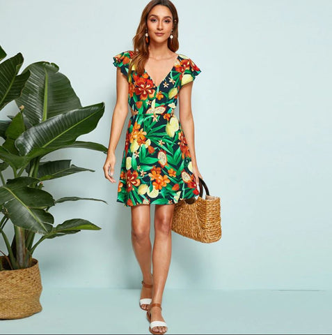 Image of Stunning Backless Tropical Dress