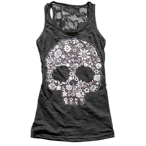 Sheer Lace Skull Tank Top