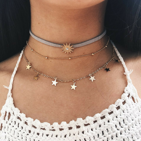 Image of 'Sun and Stars' Layered Choker