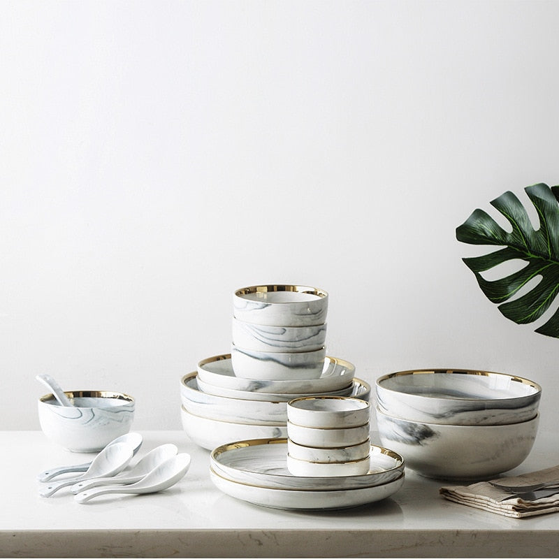 Marble and Gold Dinner Collection