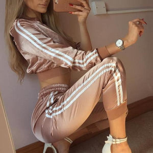 Cropped Satin Tracksuit Set