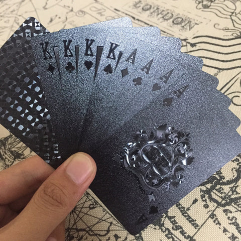 Image of Black Embossed Poker Cards