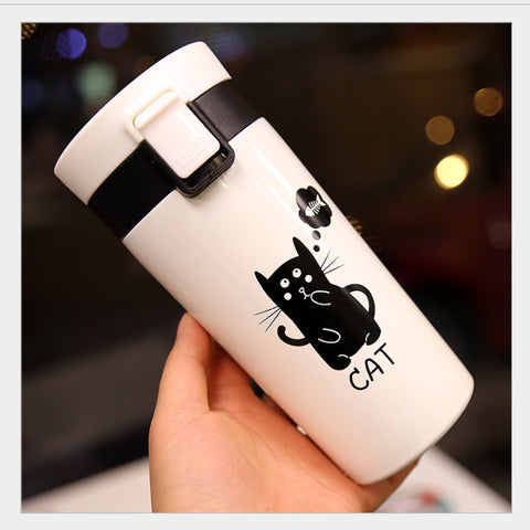 Monochrome Cat Thermos Flask