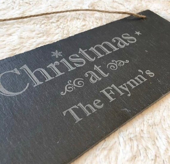"Personalized ""Christmas at"" Slate Sign"
