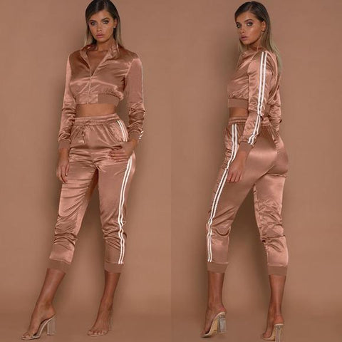 Image of Cropped Satin Tracksuit Set