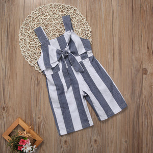 Bow-Tie Striped Jumpsuit